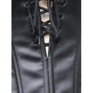 Lace Up Faux Leather Corset Top -