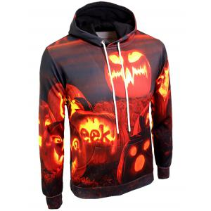 Pumpkin Lamp Print Kangaroo Pocket Hallowmas Hoodie - COLORMIX 3XL