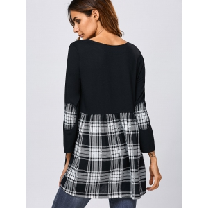 Elbow Patch Plaid Trim Blouse - WHITE/BLACK XL