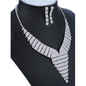 Rhinestone Triangle Necklace and Earrings -