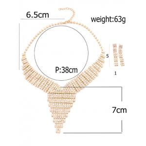 Rhinestoned Triangle Necklace and Earrings - GOLDEN