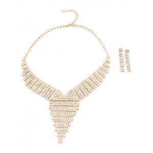 Rhinestoned Collier et boucles d'oreilles Triangle - Or