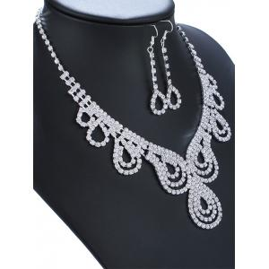Rhinestone Water Drop Necklace and Earrings - SILVER