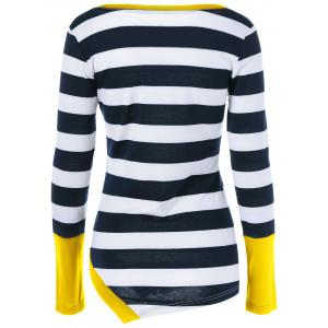 Button Embellished Asymmetric Striped T-Shirt - YELLOW XL