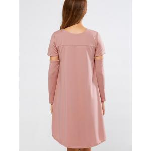 Long Sleeve High Low Loose Dress - PINK XL