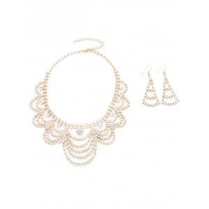 Rhinestoned Moon Necklace and Earrings - GOLDEN