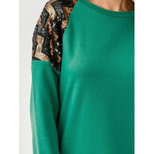 Sequined Zigzag Patchwork High Low T-Shirt -
