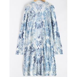 Printed Open Front Duster Coat -