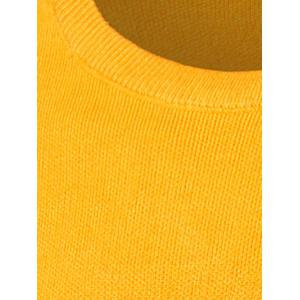 Geometric Pattern Contrast Color Crew Neck Sweater - YELLOW 2XL