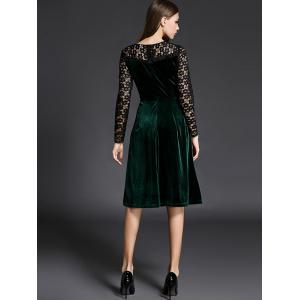 Long Sleeve Lace Spliced Knee Length Flare Dress - GREEN 2XL