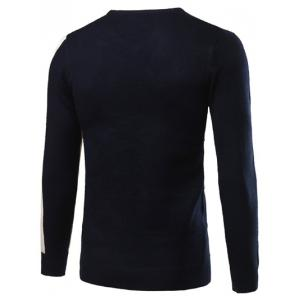 V-Neck Rib Cuff Color Matching Pullover Sweater - CADETBLUE 2XL