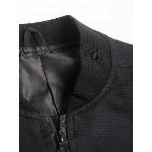 Stand Collar PU-Leather Applique Graphic Print Zip-Up Jacket - BLACK L