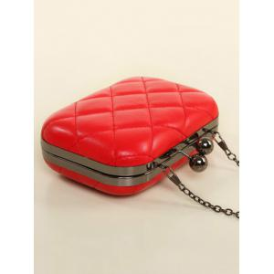 PU Leather Kiss Lock Quilted Evenig Bag - RED