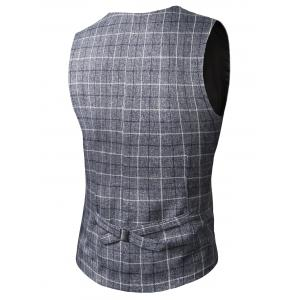 V-Neck Single-Breasted Checked Waistcoat - DEEP GRAY 3XL