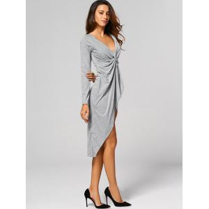 Asymmetric Formal Wrap Draped Dress - GRAY XL