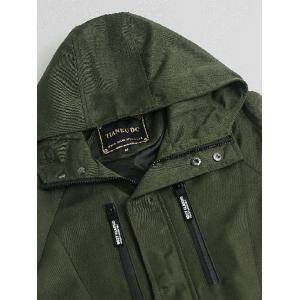 Hooded Zipper Embellished Jacket - ARMY GREEN 2XL