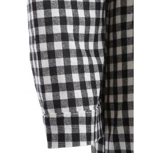 Hooded Button-Down Plaid Blouse - CHECKED 2XL