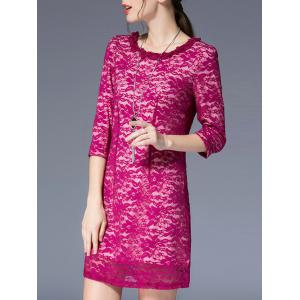 3/4 Sleeve Round Pleated Collar Lace Dress - ROSE MADDER L