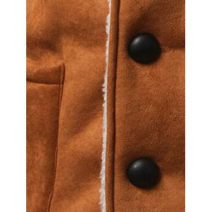 Shawl Collar Patch Pocket Plush Lining Longline Coat - KHAKI 2XL