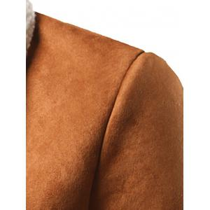Shawl Collar Patch Pocket Plush Lining Longline Coat -