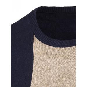 Color Matching Long Sleeve Crew Neck Sweater -