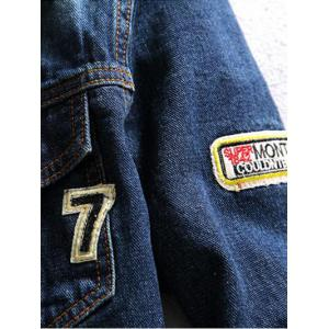 Letter Number Embroidery Distressed Denim Jacket -