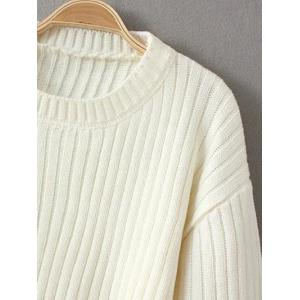 Cropped Woolen Sweater - WHITE ONE SIZE