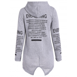 Zip Up Graphic Asymmetrical Hoodie - GRAY XL
