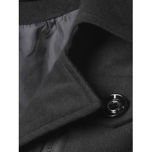Epaulet Design Zippered Single Breasted Coat - BLACK XL