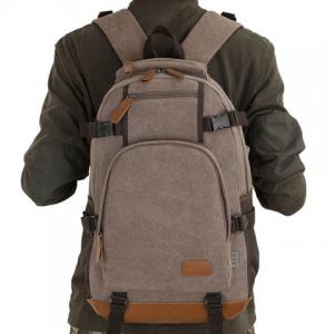 Casual PU Leather Spliced Canvas Backpack -
