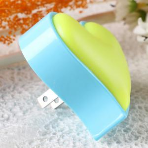 Socket Power Supply Heart Shape Table Bedside LED Night Light - BLUE/YELLOW