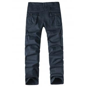 Zipper Fly Pockets Design Straight Leg Cargo Pants -
