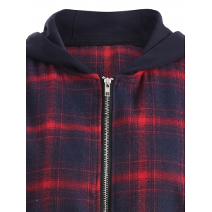 Zipper Plaid Hooded Coat -
