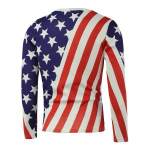 American Flag Star Printed Long Sleeve Sweatshirt - WHITE 5XL