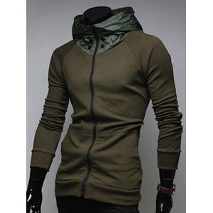 Zip Up Kangaroo Pocket Raglan Sleeve Hoodie -