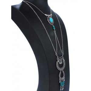 Floral Faux Turquoise Layered Necklace - SILVER