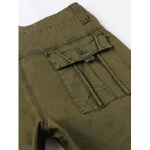 Zipper Fly Pockets Embellished Straight Leg Basic Cargo Pants - OLIVE GREEN 32