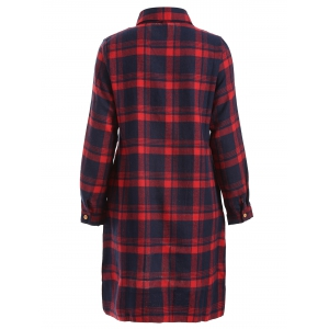 Long Sleeve Plaid Shift Casual Dress - RED 2XL