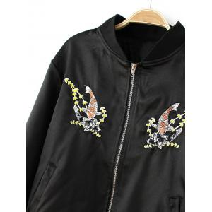 Fish Embroidered  Bomber Jacket -
