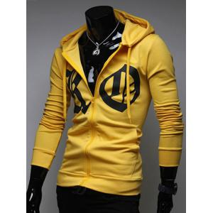Pocket Front Zip Up Drawstring Graphic Hoodie - YELLOW XL