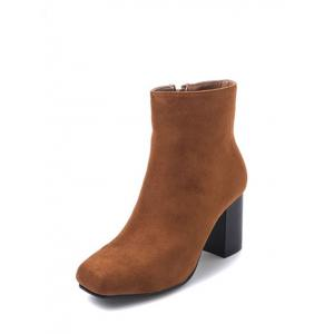 Zipper Square Toe Chunky Heel Ankle Boots - BROWN 39