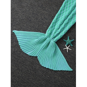 Knitted Rhombus Design Mermaid Tail Blanket - LIGHT GREEN