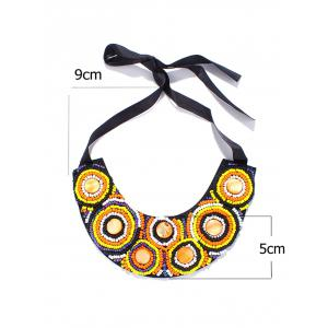 Faux Stone Beaded Circle Ribbon Bib Necklace -