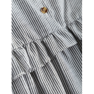 Plus Size Flounced Pinstripe Shirt - GRAY 5XL