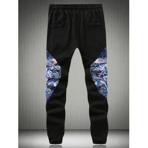 Dragon Print Splicing Chinese Character Embroidered Jogger Pants - BLACK 5XL