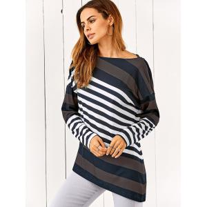 Drop Shoulder Vertical Striped T-Shirt -