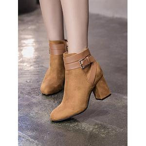 Cross Straps Buckle Chunky Heel Ankle Boots - BROWN 39