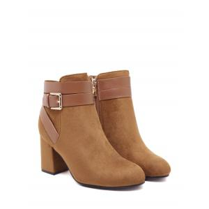 Cross Straps Buckle Chunky Heel Ankle Boots -