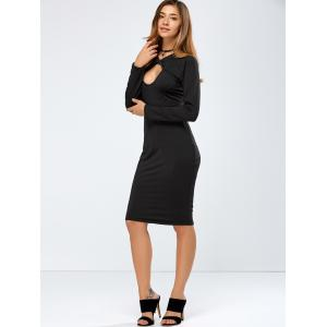 Long Sleeve Keyhole Crossover Bodycon Dress - BLACK L