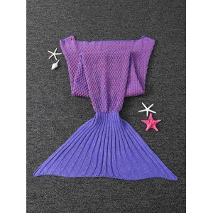 Warm Dot Design Antipilling Sleeping Bag Wrap Mermaid Blanket - PURPLE
